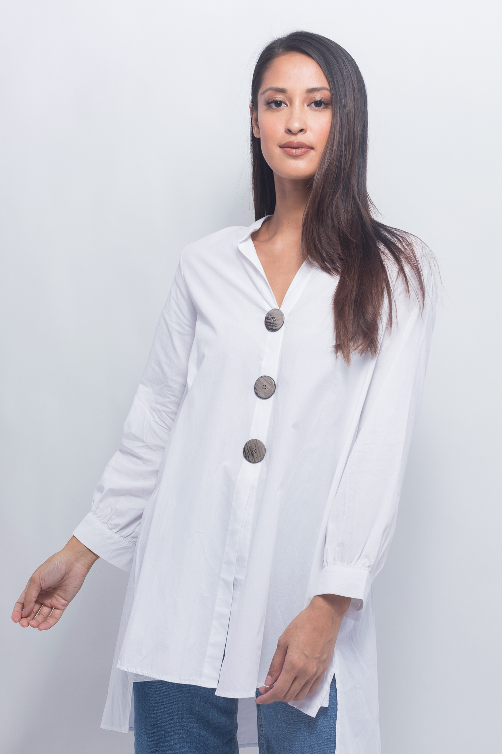 Boutiqna  Oversized Button Front Blouse