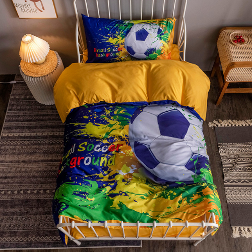DEALS FOR LESS - Single Size, Duvet Cover, Bedding Set of 4 Pieces, 3D Soccer Ball Design, 1 Duvet cover + 1 Fitted bedsheet + 2 pillow covers
