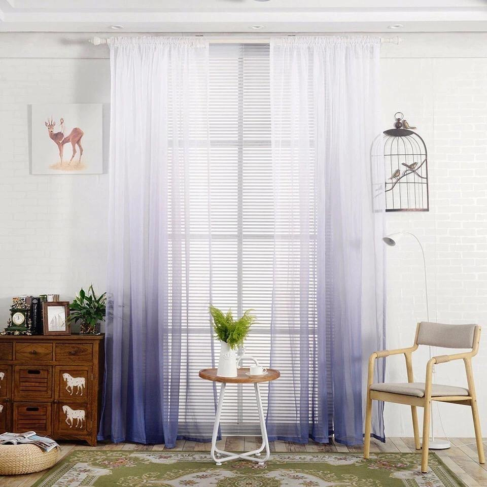 Deals For Less - Grey Color Ombre Sheer, Set Of 2 Pieces.