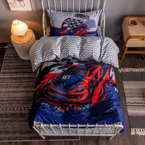 DEALS FOR LESS - Single Size, Duvet Cover, Bedding Set of 4 Pieces, 3D Cars Design, 1 Duvet cover + 1 Fitted bedsheet + 2 pillow covers