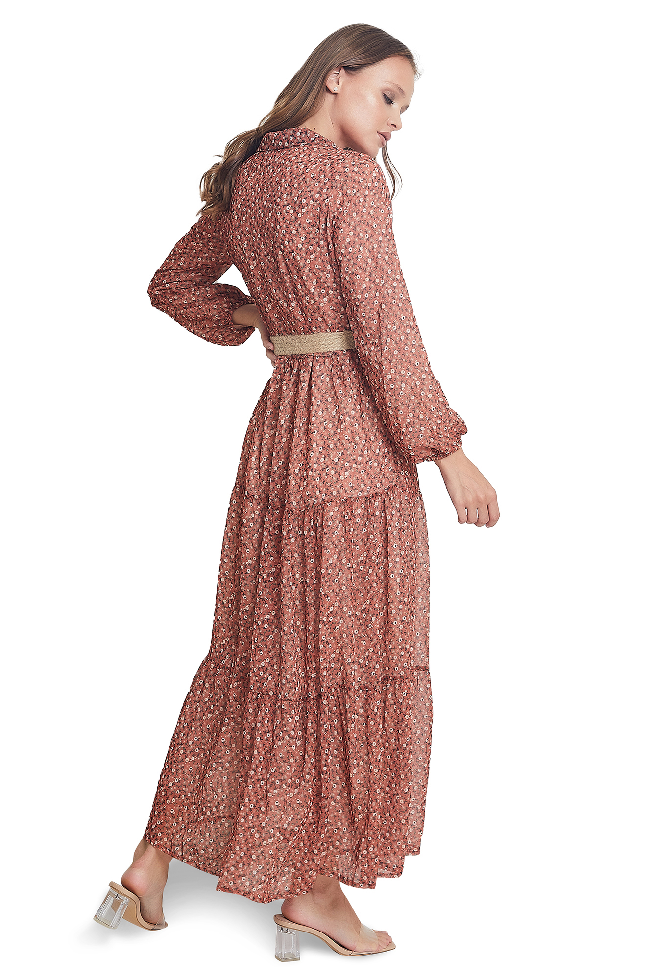 Boutiqna  Floral Belted Maxi Dress