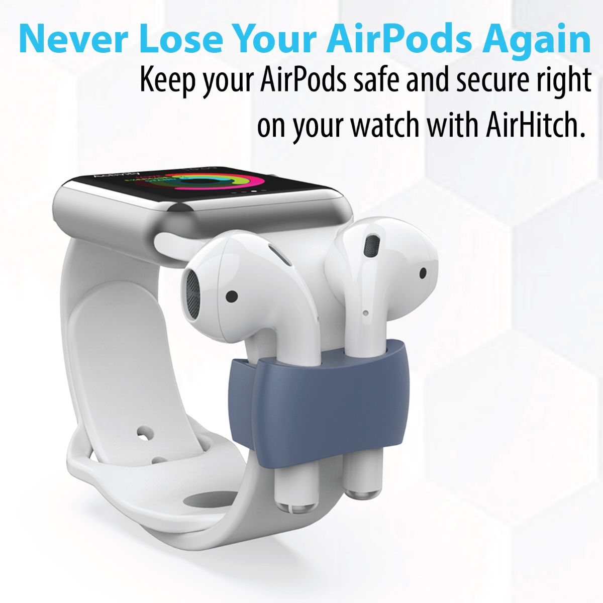 Promate AirPods Watch Band Holder, Anti-Lost Shockproof Silicone Watch Strap Holder Clip for Apple AirPods and AirPods 2, Apple Watch - Navy Blue