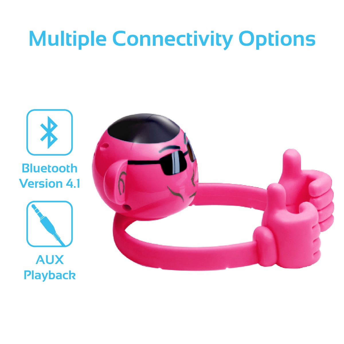 Promate Bluetooth Speaker, Portable Monkey Shape Multifunction Wireless Speaker with 3.5mm Audio for Tablets, Cell Phones - Pink