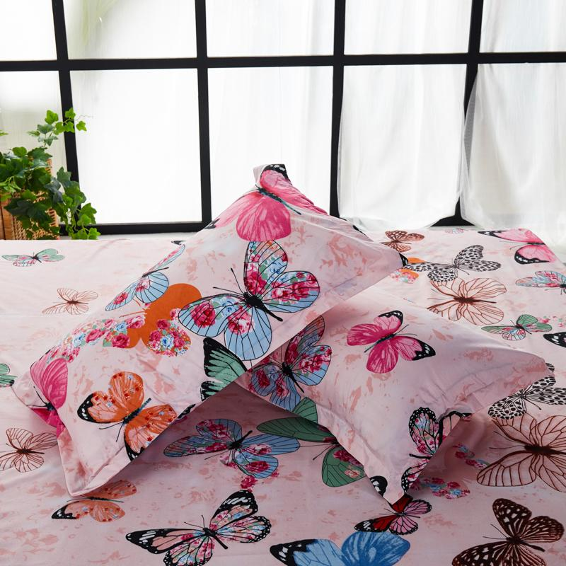 DEALS FOR LESS  - Single Size, Duvet Cover , Bedding Set of 4 Pieces, Pink Butterfly Design
