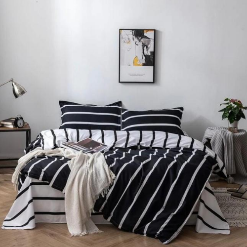 DEALS FOR LESS  - Queen Size, Duvet Cover , Bedding Set of 6 Pieces, Black and White Stripe Design