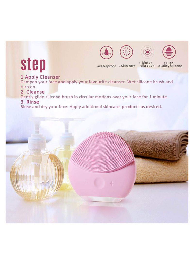 Forever Silicon Facial Cleansing Electric Brush Pink