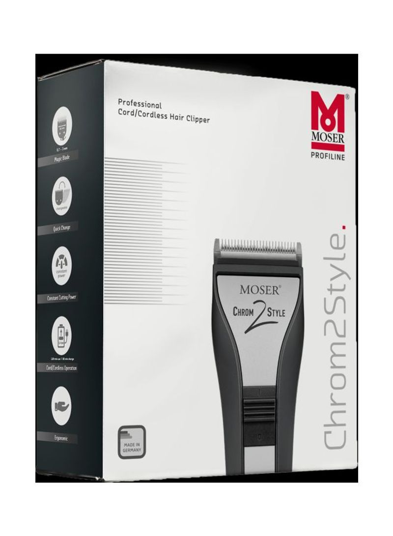 Moser Chrom2style Professional Cordless Hair Clipper Black/Silver