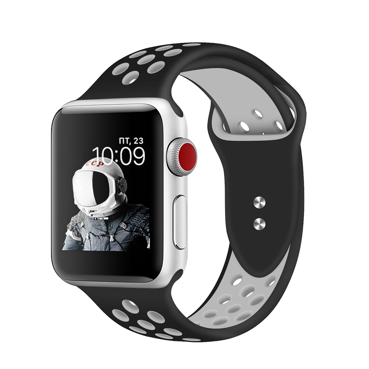 Promate Silicone Apple Watch 38mm/40mm Strap,  Dual-Toned Silicone Sport Band w/ Lock Pin  for Apple Series 1/2/3/4 Small/ M/L/S, Nike+, Sports - B/W
