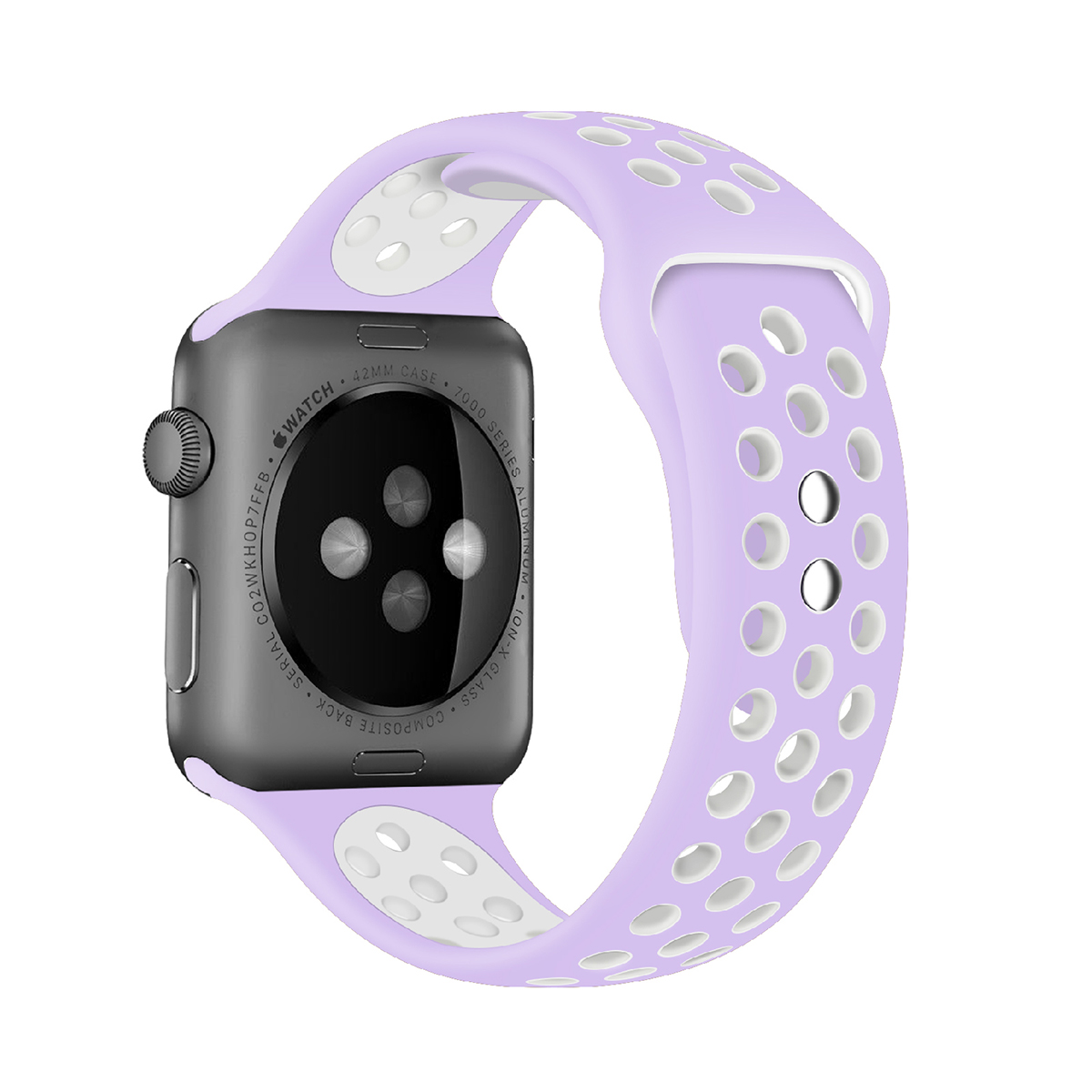 Promate Silicone Apple Watch 38mm/40mm Strap, Dual-Toned Silicone Sport Band w/ Lock Pin for Apple Series 1/2/3/4 M/L/S, Nike+, Sports-  Purple White
