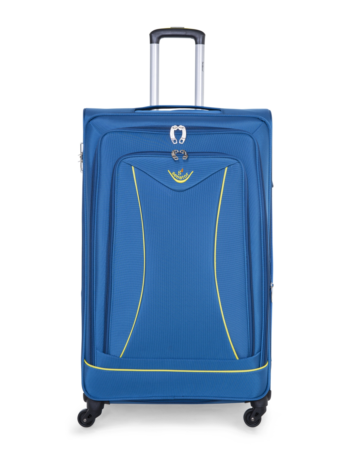Senator Brand Softside 3 Piece Set of 4 Wheel Spinner Luggage Trolley in Blue Color LL032-3_BLU