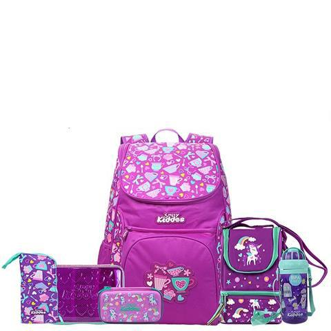 Smily Kiddos Strap Purple Backpack Back to School Combo